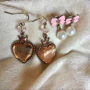 Betsey Johnson Bow & Heart Earrings